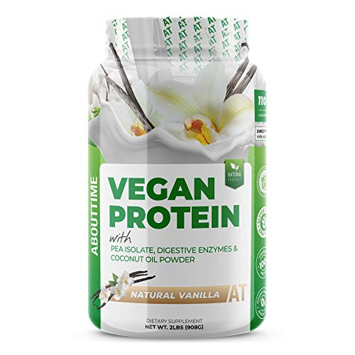 About Time Natural Vegan Protein Vanilla 2lb - 24 grams of Protein, Non-GMO, Plant Based, Gluten Free, Soy Free, Dairy Free, 32 Servings