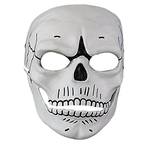 James Bond Costume Party (Cosplay Spectre 007 Film James Bond Novelty Creepy Skull Skeleton Full Face Mask Gift for Halloween Party Costume Decorations,White)