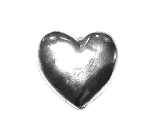 (15 NEW LARGER HEART PUSH PINS, ANTIQUE SILVER,T-46AS)