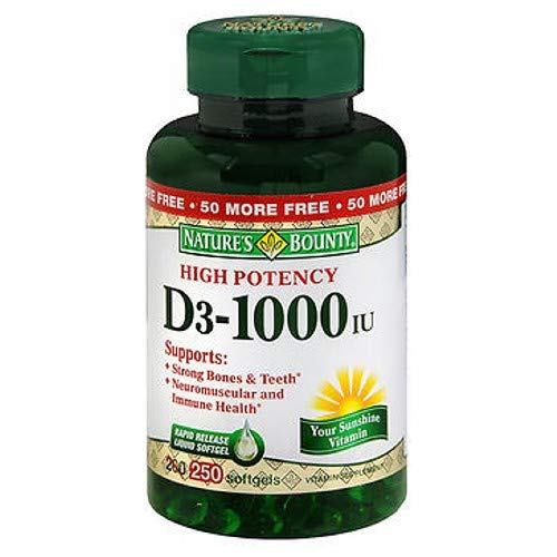 Nature's Bounty Vitamin D3-1000 IU, Rapid Release Softgels 250 ea (Pack Of 2)