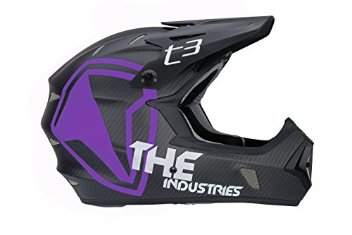 THE Industries Youth T3 Carbon Shield BMX and Mountain Bike Helmet, Black/Purple, 49-50cm/Large
