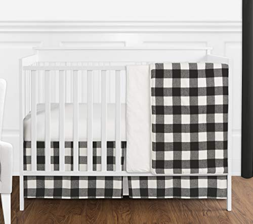 (Sweet Jojo Designs Black and White Rustic Farmhouse Woodland Flannel Buffalo Plaid Check Baby Unisex Boy or Girl Nursery Crib Bedding Set Without Bumper - 4 Pieces - Country Lumberjack)