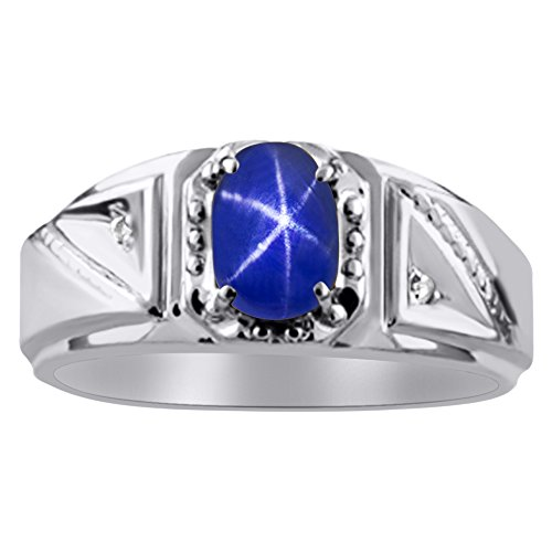 Diamond & Blue Star Sapphire Ring Sterling Silver or 14K Yellow Gold Plated Silver (Ring Yellow Men Sapphire)