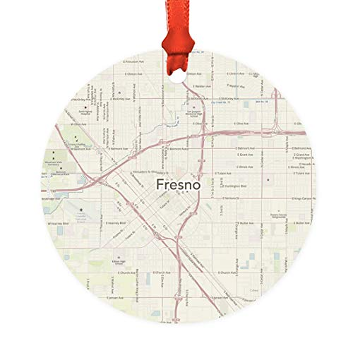 Andaz Press U.S. City Map Round Metal Christmas