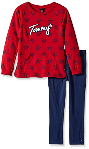 Tommy Hilfiger Girls' Little 2 Pieces Tunic Pants Set, Haute red/Navy, 6X (Tommy Hilfiger Tunic)