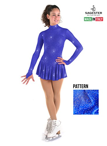 Long Sleeve Voile (Sagester Style# 177/Hand-made In Italy/Long Sleeve Dress For Figure Skating, Ice Skating, Roller Skating/High Neckline, In Glitter Net/Size: XS/Color Blue)