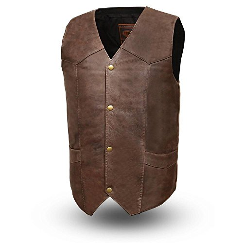 First Mfg Co Men's Texan Leather Vest (Brown, XX-Large) ()