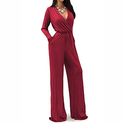 5 Pocket Wide Leg (JXJCVF Women Wrap V-Neck Sexy Long Sleeve Wide Leg Jumpsuit with Pockets)
