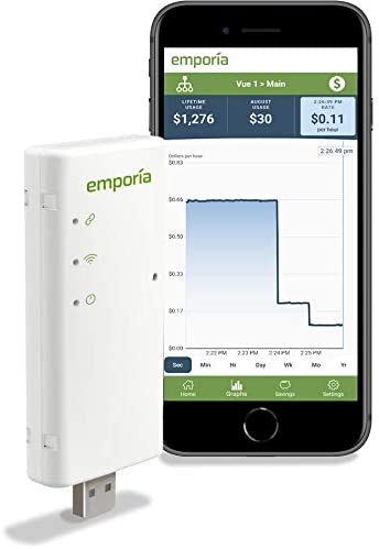 Emporia Vue Smart Home Energy Monitor | Connects to Your Electric Meter | Solar Net Metering | Works only w/PG&E, SCE, SDGE, PPL, First Energy, Burlington Electric and Green Mountain Power
