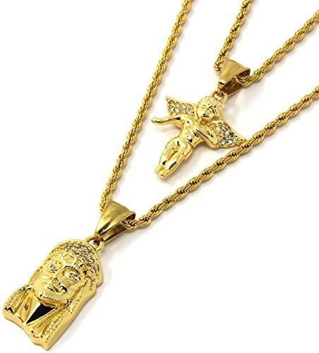 Mens Gold Two Piece Iced Jesus & Angel Set Pendant Hip Hop 24