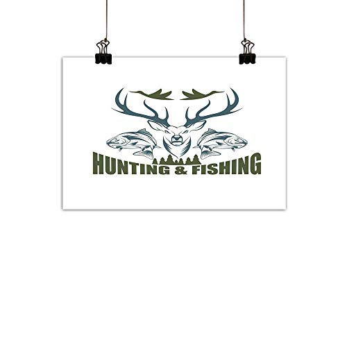 (duommhome Hunting Decor Abstract PaintingArtistic Emblem Moose Head Horns Trout Salmon Sea Fishes Natural artOlive Green Slate Blue White 27
