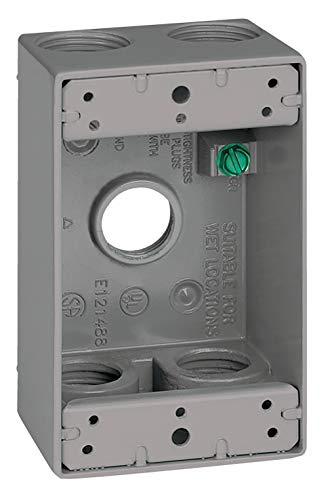 Sigma Electric, Gray 14253-5 3/4-Inch 5 Hole 1-Gang Box