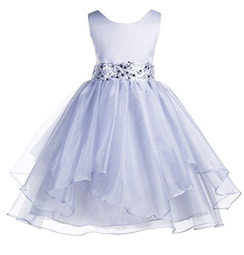 ekidsbridal Asymmetric Ruffled Organza Sequin Flower Girl Dress Toddler Girl Dresses 012S 10 Silver