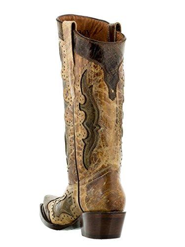 Cowboy Professionale Da Donna Sand Kenia Borchiato Stivali Da Cowboy In Pelle Snip Toe Sand