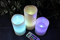 LED Lytes FLAMELESS CANDLES, COLOR CHANGING REMOTE CONTROL Timer and Battery Operated Electric Candle for Elegant Weddings, Classy Parties and Awesome Gifts
