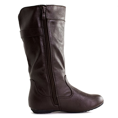 Calf Brown Zipper Faux Girls Kid Boots Mid Leather Little Generation19 Toddler Buckle wF6ABYq