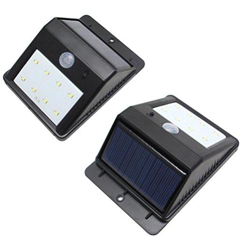 Solar Power PIR Motion Sensor Wall Light Waterproof Warm light Lamp - 2