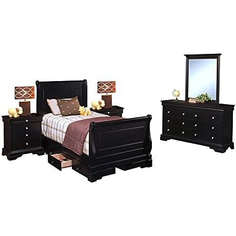 Black Hills Youth Sleigh 5 Piece Storage Full Bed 2 Nightstand Dresser Mirror In Black
