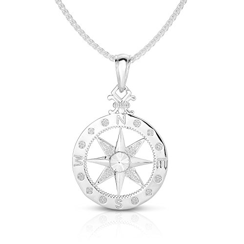 "Unique Royal Jewelry 925 Solid Sterling Silver Large Compass Rose Pendant and Necklace. (18"" Inches)"