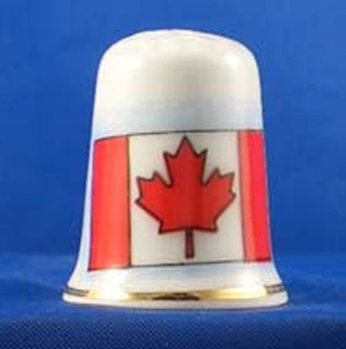 Porcelain China Collectable Thimble -- Flag of Canada with Free Gift Box Birchcroft China
