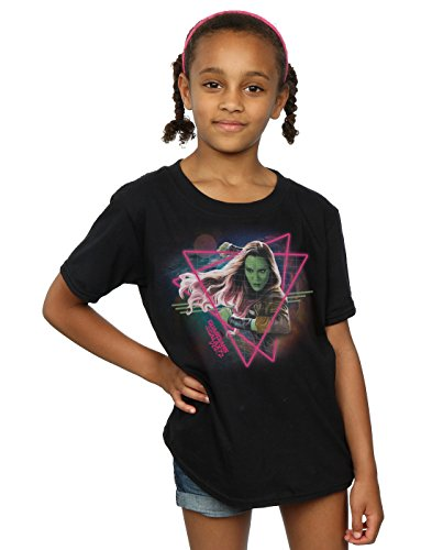 Marvel Girls Guardians of The Galaxy Neon Gamora T-Shirt 9-11 Years Black