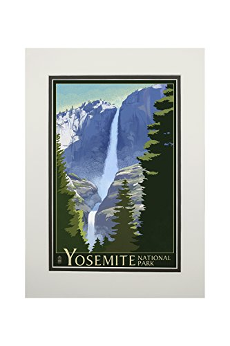 Yosemite National Park, California - Yosemite Falls - Lithography (11x14 Double-Matted Art Print, Wall Decor Ready to Frame)