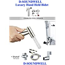 D-Soundwell CleanStar Luxury Hand Held Bidet Shattaf Sprayer, Handheld Bidet Toilet Sprayer Hangheld Stainless Steel For Cloth Diapers Bathroom Muslim Shower,Inclding Controllable Nozzle 47 Inches Extra Long Hose T-Adapter And Bracket Holder,clean spa, cleanspa bidet,hand bidet