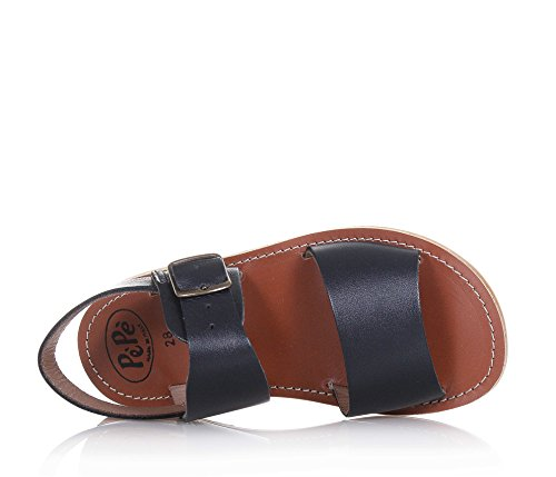 Pèpè Blaue Sandale Aus Leder, Made in Italy, mit Schnallenverschluss, Fußbett Aus Leder und Gummisohle, Mädchen-32