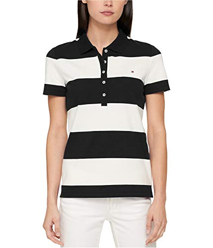 (Tommy Hilfiger Womens Rugby Stripe Polo Shirt Black S)