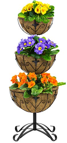 (Sorbus Three-Tier Planter Basket Stand with Coco Liners, Decorative Raised Planter for Flowers, Plants, Floral Displays, Seasonal Décor, Stylish for Home, Garden, Patio, Deck, Black Metal)