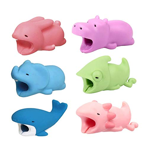 (Mookex 6Pcs Cable Bites, Phone Cable Protector Animals Bites Cable Chompers Animal Cable Bite Animal Charger Protector Phone Cables Protector (Whale, Hippo, Rabbit, Chameleon, Eelephant, Salamander))