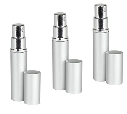 Silver Aluminum Perfume Atomizer Fine Mist Sprayer 3 ML for purse or travel Refillable by MagnaKoys (pack of 3)
