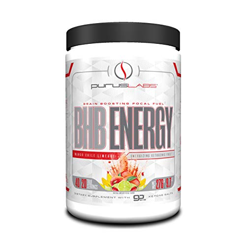 BHB Energy by Purus Labs | Beta-Hydroxybutyrate (BHB) Salts Exogenous Ketones Supplement | Mango Chile Limeade (40 Servings)
