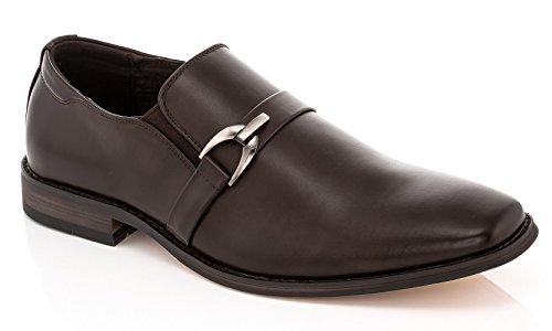 Slip Vanucci Black Franco Leather 2034 Dress on Brown Horsebit Mens Loafers qEU7UTn4w