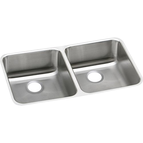 Elkay Lustertone ELUH3118 Equal Double Bowl Undermount Stainless Steel Kitchen Sink (Bowl Undermount Double Gourmet)