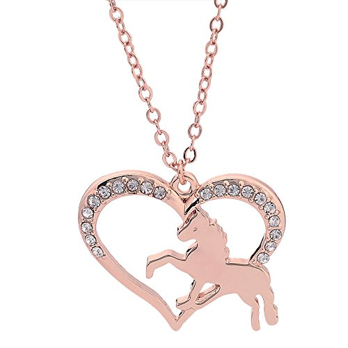 Gold Horse Heart - NOUMANDA Galloping Little Horse Heart Shaped Animal Pendant Necklace for Girls (Rose Gold)