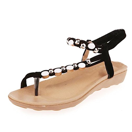 Women Fashion Flat Shoes Beaded Bohemia Leisure Sandals Peep-Toe Flip Flop Shoes(Black, CN36(US -