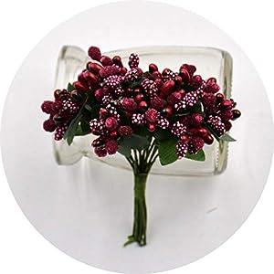 vibe-pleasure 12Pcs/lot Handcraft Artificial Flowers Stamen Sugar Wedding Party Decoration DIY Wreath Gift Box Scrapbooking Fake Flowers,Dark Red 33