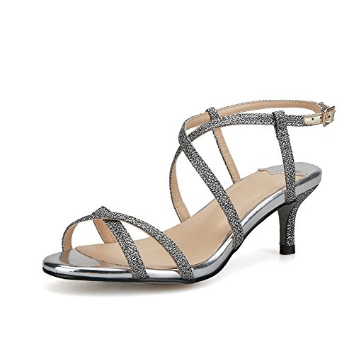 AmoonyFashion Womens Buckle Kitten Heels Blend Materials Solid Open Toe Sandals Silver KPBT5IF