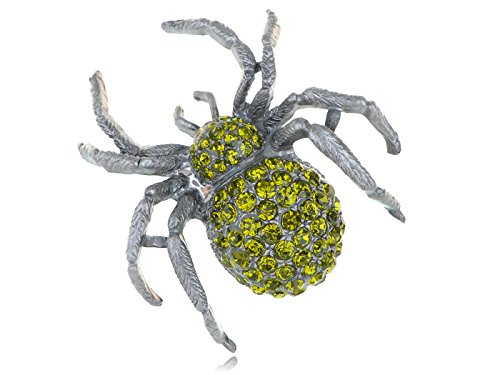 Costume Jewellery Brooches Wholesale (Alilang Vintage Inspired Repro Peridot Crystal Rhinestone Spider Fashion Jewelry Pin Brooch)