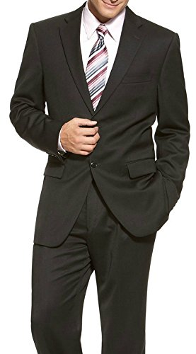 Jones New York Modern Fit Black Hairline Striped Two Button Suit (Jones York Striped Suit New)