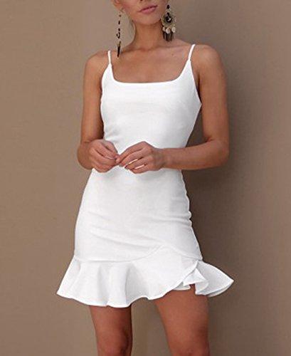 Partido Halter Playa Vestido de Bodycon Lisos Irregular Mujeres Dress Mini de Dress Sexy Coctel Fiesta Tirantes Verano Volantes Vestidos Colores de PnCqx6Xn