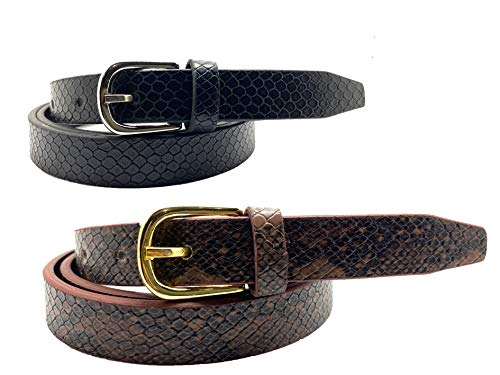THE MOHANS girls casual,party,formal,evening artificial leather snake design one size belt combo for girls & womens(pack of 2)