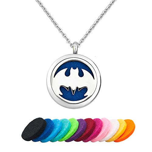 CLY Jewelry Aromatherapy Essential Oil Diffuser Necklace Locket Pendant Love Bat Hero Fly Wings with Colorful Refill Pads Ideal Gift for Women Girl Wife Mom Daughter Grandma Friend Family Birthday