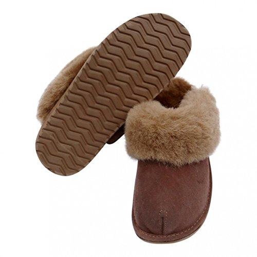 100 sur Laine Chaussons Marron Peau avec Merino Zealand Chaussures Peau Premium Hollert Leather de New Mouton Mouton Femmes de Px4OUU7n