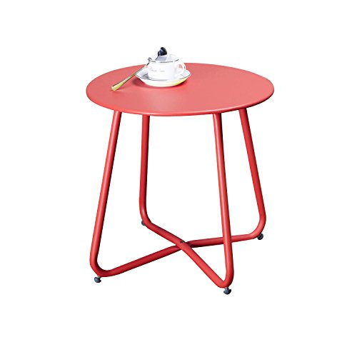 Grand Patio Steel Patio Coffee Table, Weather Resistant Outdoor Side Table, Small Round End Tables, Red (Small Folding Round Table Garden)
