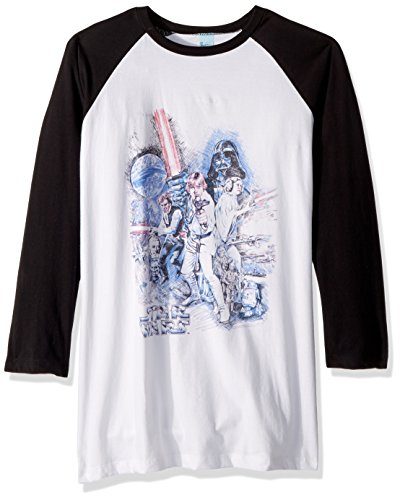 Wars Poster Official Star - Star Wars Men's Official 'Poster' Graphic Tee, Black/White, Large