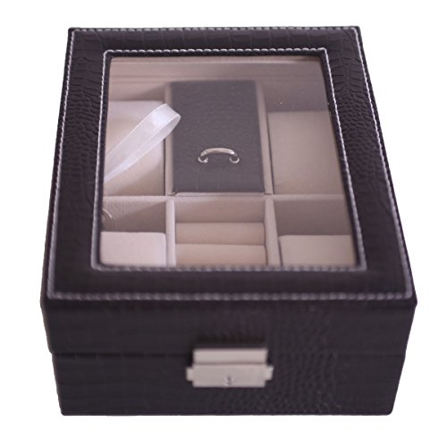 Leather Sunroof (GUANYA Watches Box PU Leather Sunroof Display (Black))
