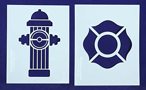 Fire Hydrant/Maltese Cross Stencils - 2 Piece Set - 8 X 10 Inches