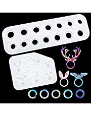 SAVITA 2Pcs 14 Different Sizes Rings Resin Molds Crafts Animal-Shaped Rings Silicone Mould for Epoxy Resin for Making Rings, Earrings, Necklace Pendant,Crafts,Resin,DIY Decoration